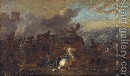 A cavalry skirmish 7 by (after) Jacques (Le Bourguignon) Courtois - Reproduction Oil Painting
