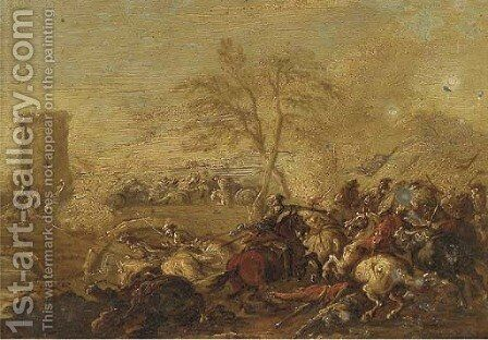 A cavalry skirmish 10 by (after) Jacques (Le Bourguignon) Courtois - Reproduction Oil Painting