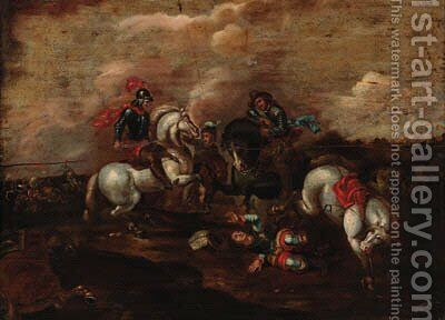 A cavalry skirmish 11 by (after) Jacques (Le Bourguignon) Courtois - Reproduction Oil Painting