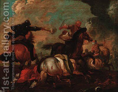 A cavalry engagement between Christians and Turks by (after) Jacques (Le Bourguignon) Courtois - Reproduction Oil Painting