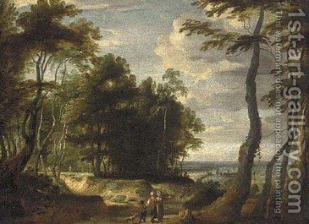 A wooded landscape landscape with peasants on a path by (after) Jacques D' Arthois - Reproduction Oil Painting
