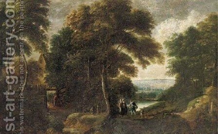 A wooded river landscape with elegant company on a path, with cottage a beyond by (after) Jacques D' Arthois - Reproduction Oil Painting