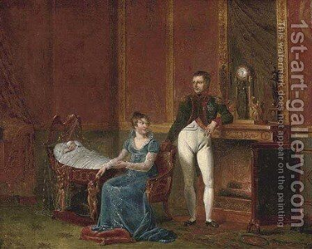 Napoleon and Marie-Louise by the fireside with the infant Napoleon II by (after) David, Jacques Louis - Reproduction Oil Painting
