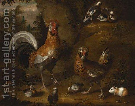 A cockerel and hen with chicks by (after) Jakob Bogdany - Reproduction Oil Painting