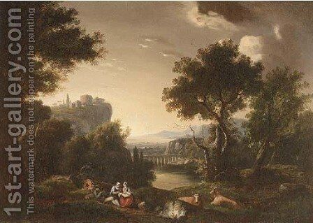 A mountainous river landscape with countryfolk at rest by (after) Jan Hackaert - Reproduction Oil Painting