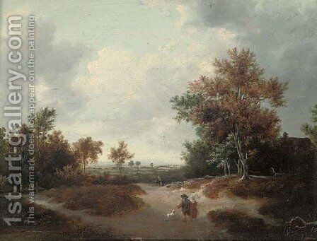 A wooded landscape with a peasant couple on a track by (after) Jacob Van Ruisdael - Reproduction Oil Painting