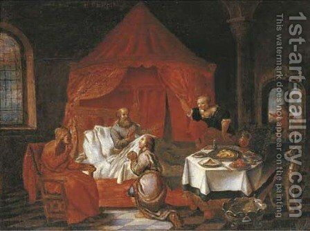 Isaac blessing Jacob by (after) Jakob Willemsz. De Wet - Reproduction Oil Painting