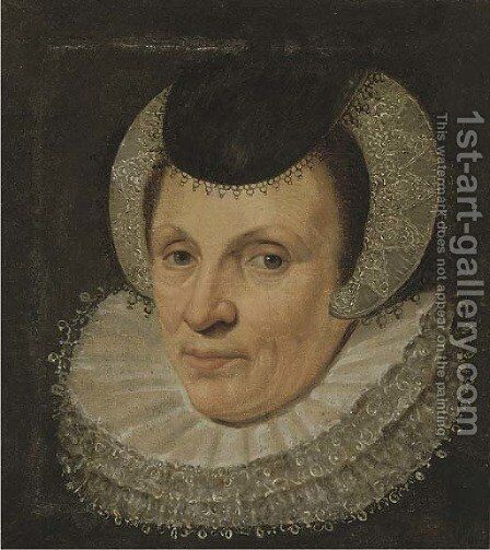 Portrait of a lady, bust-length, in a lace head-dress by (after) Anthony Van Ravesteyn - Reproduction Oil Painting