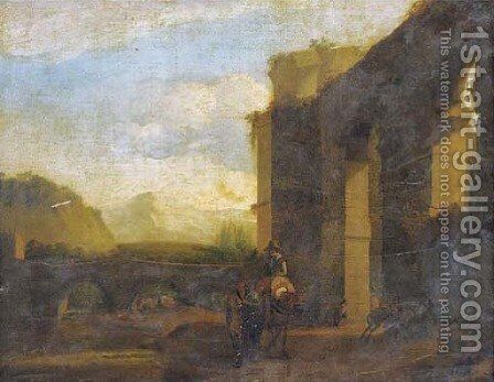 An Italianate landscape with travellers by a bridge near classical ruins by (after) Jan Asselyn - Reproduction Oil Painting