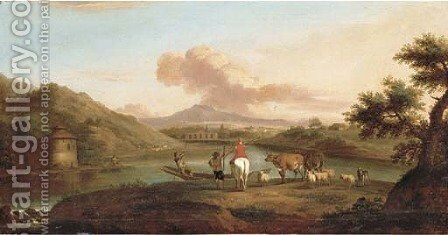 An extensive Italianate river landscape with herdsmen on a bank and a man fishing by a dwelling by (after) Jan Asselyn - Reproduction Oil Painting
