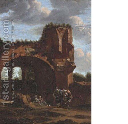 An Italianate landscape with travellers at rest by a classical arch by (after) Jan Asselyn - Reproduction Oil Painting