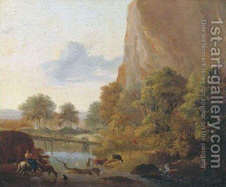 An Italianate landscape with muleteers fording a river, a sportsman in the distance by (after) Jan Both - Reproduction Oil Painting