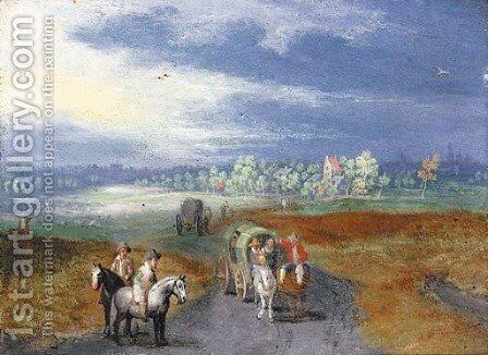 A panoramic landscape with travellers on a road, a town beyond by (after) Jan, The Younger Brueghel - Reproduction Oil Painting