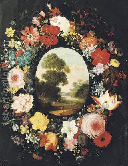 A wreath of roses, tulips, jasmine and other flowers surrounding an oval depicting a landscape by (after) Jan, The Younger Brueghel - Reproduction Oil Painting