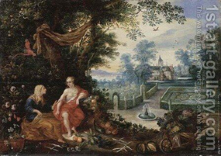 Vertumnus and Pomona by (after) Jan, The Younger Brueghel - Reproduction Oil Painting