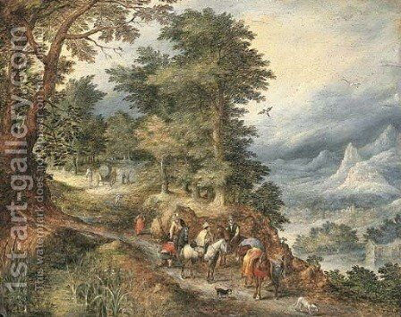 A mountainous landscape with travellers on a path by (after) Jan The Elder Brueghel - Reproduction Oil Painting