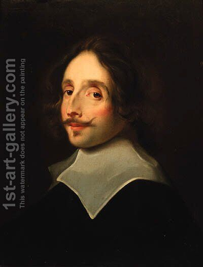 Portrait of a gentleman, head and shoulders in a black doublet with a lawn collar by (after) Jan Cossiers - Reproduction Oil Painting