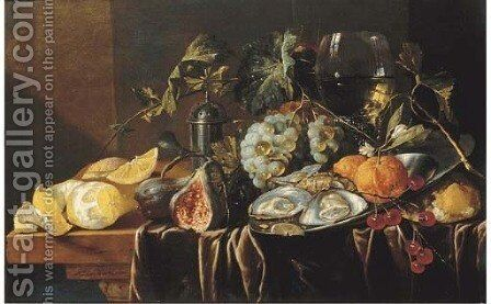A pronk still life with oysters by (after) Jan Davidsz. De Heem - Reproduction Oil Painting