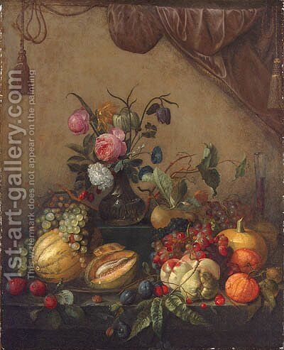 Grapes, melons, plums, peaches, oranges, cherries, a pumpkin, a glass of wine and a vase of flowers by (after) Jan Davidsz. De Heem - Reproduction Oil Painting