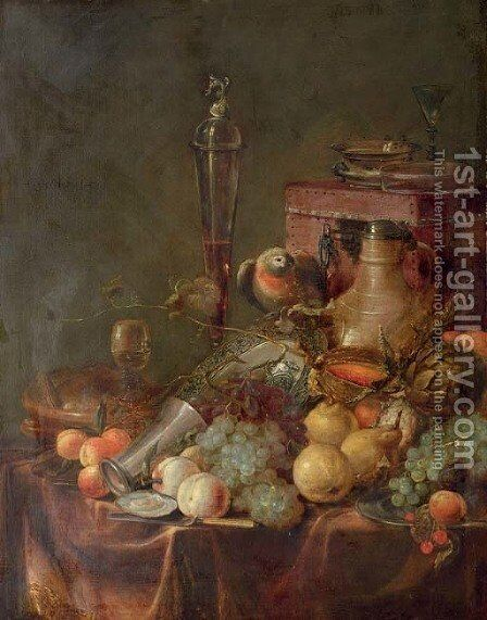 Grapes, peaches, cherries, a melon and an artichoke, with a blue and white porcelain dish by (after) Jan Davidsz. De Heem - Reproduction Oil Painting