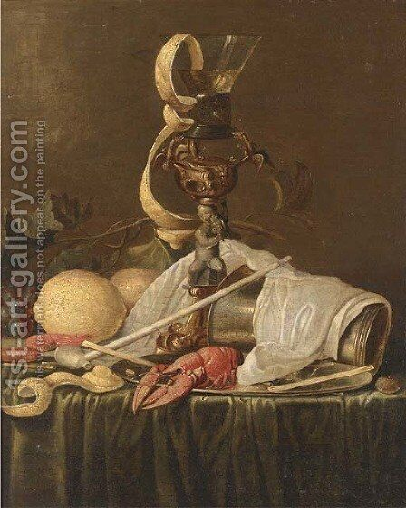Lemons, grapes on the vine, prawns, a lobster on a pewter dish by (after) Jan Davidsz. De Heem - Reproduction Oil Painting
