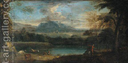An extensive mountainous landscape with cattle by a pool by (after) Jan Frans Van Bloemen, Called Il Orrizonte - Reproduction Oil Painting