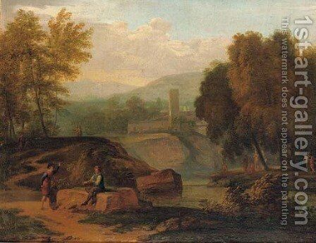 An Italianate landscape with figures conversing on the banks of a river, mountains beyond by (after) Jan Frans Van Bloemen, Called Il Orrizonte - Reproduction Oil Painting