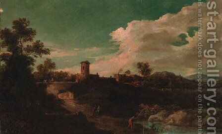 An Italianate landscape with an angler by a pool, with peasants on a track, a village beyond by (after) Jan Frans Van Orizzonte (see Bloemen) - Reproduction Oil Painting