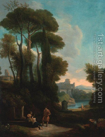 An Italianate landscape with figures resting by a fountain by (after) Jan Frans Van Orizzonte (see Bloemen) - Reproduction Oil Painting