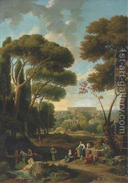 A classical landscape with a view of Rome by (after) Jan Frans Van Orizzonte (see Bloemen) - Reproduction Oil Painting