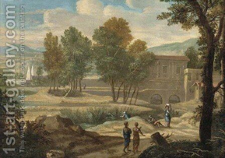 A classical landscape with figures on a path, a villa beyond by (after) Jan Frans Van Orizzonte (see Bloemen) - Reproduction Oil Painting