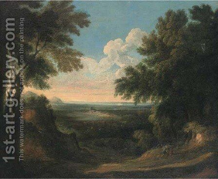 A wooded landscape with two figures in the foreground 2 by (after) Jan Frans Van Orizzonte (see Bloemen) - Reproduction Oil Painting