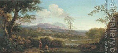 An extensive Italianate landscape with shepherds by a river and a village beyond by (after) Jan Frans Van Orizzonte (see Bloemen) - Reproduction Oil Painting
