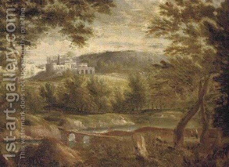An Italianate landscape with figures by a lake, a town beyond by (after) Jan Frans Van Orizzonte (see Bloemen) - Reproduction Oil Painting