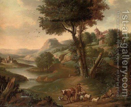 A river landscape with a shepherd and his flock on a track by (after) Jan Griffier - Reproduction Oil Painting