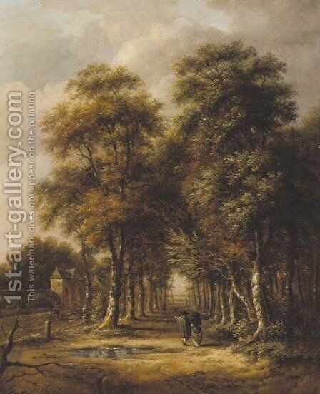An avenue of trees with an elegant couple walking by (after) Jan Hackaert - Reproduction Oil Painting