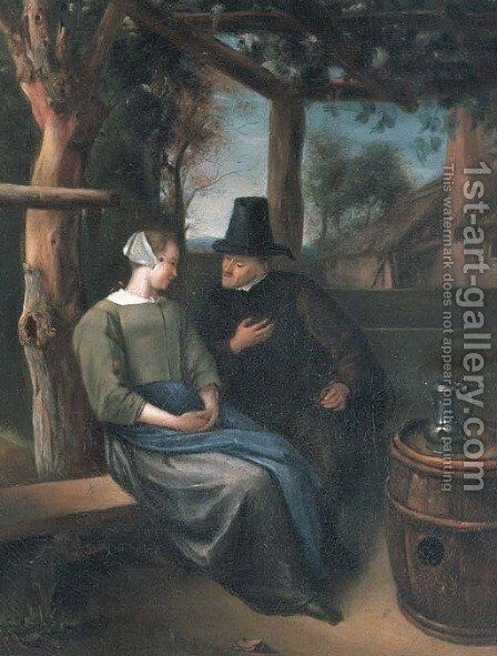 A man and woman conversing in an arbor by (after) Jan Steen - Reproduction Oil Painting