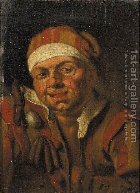 A Personification of Gluttony a man in fancy costume by (after) Jan Steen - Reproduction Oil Painting