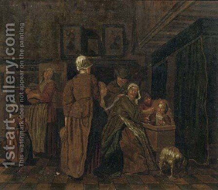 A family in an interior by (after) Jan Jozef, The Younger Horemans - Reproduction Oil Painting