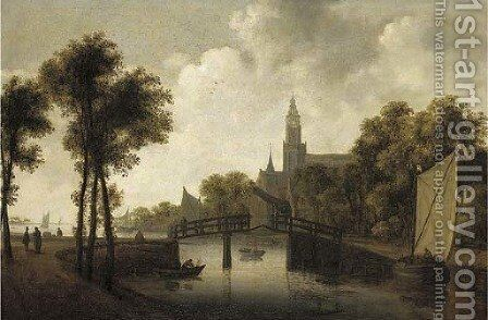 A river landscape with fishermen and other figures by a bridge, a church beyond by (after) Jan Van Goyen - Reproduction Oil Painting