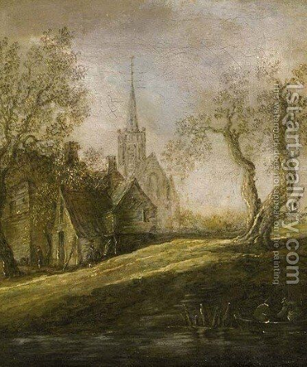 A view of a village by a river with fishermen in a rowingboat, on a cloudy day by (after) Jan Van Goyen - Reproduction Oil Painting