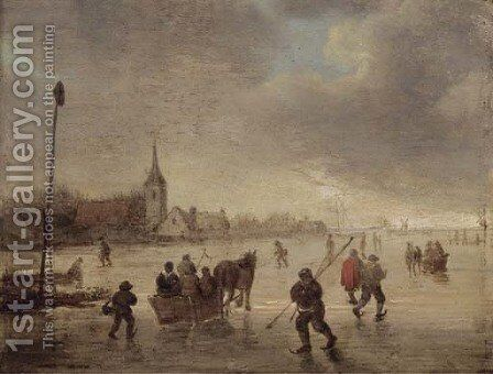 A winter landscape with skaters and kolf players on a frozen lake by (after) Jan Van Goyen - Reproduction Oil Painting