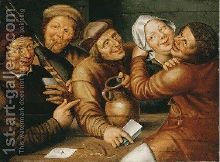 Peasants carousing and playing cards by (after) Jan Massys - Reproduction Oil Painting