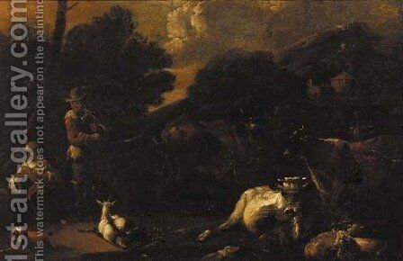 Figures tending livestock, a mountain beyond by (after) Jan Miel - Reproduction Oil Painting