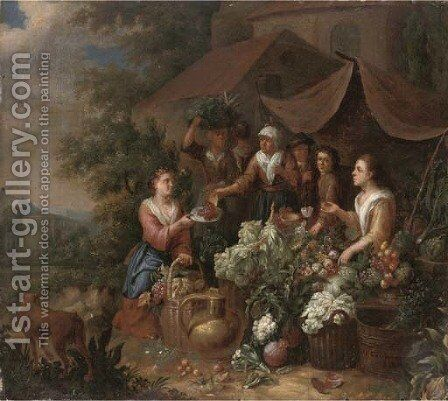 Fruit and vegetable sellers by a church by (after) An Pauwel II The Younger Gillemans - Reproduction Oil Painting