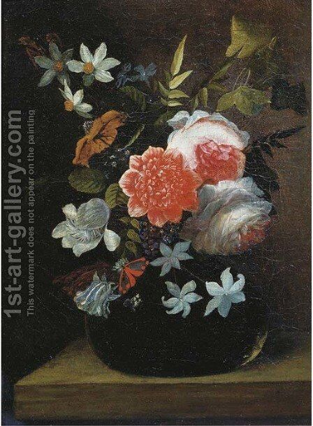 Roses, lilies, tulips and other flowers in a glass vase with a butterfly on a wooden ledge by (after) Jan Philip Van Thielen - Reproduction Oil Painting