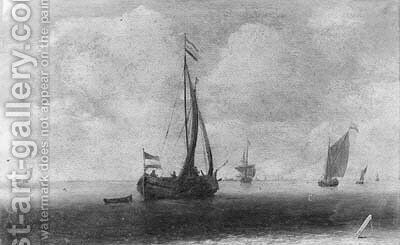 A wijdschip running before the wind, other shipping beyond, in a light breeze by (after) Jan Porcellis - Reproduction Oil Painting