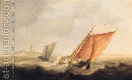 Shipping in a stiff breeze off the coast by (after) Jan Porcellis - Reproduction Oil Painting