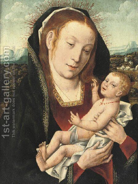 The Virgin and Child in an extensive wooded landscape by (after) Jan Provost - Reproduction Oil Painting