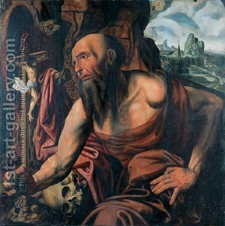 The Penitent Saint Jerome in a cave by (after) Jan Sanders Van Hemessen - Reproduction Oil Painting